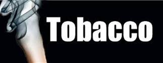Image of the word Tobacco with smoke swirling on the left side. Tobacco education.