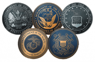 Image of all emblems of all the branches of the US Armed Forces