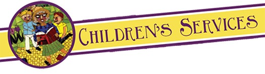 Children Services banner with depiction of woman reading and children