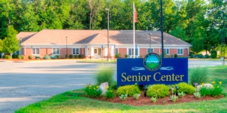 Senior Center Building and Sign with text - Senior Center