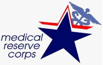 Medical Reserve Corps Logo - Blue Star with public Health logo on the top right-hand corner
