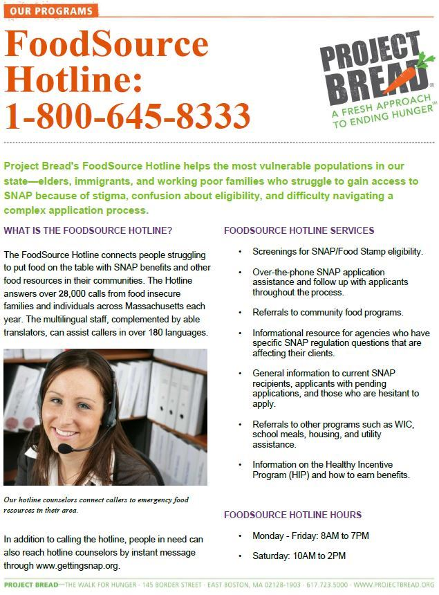 Project Bread Foodsource Hotline Flyer